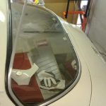 Rear window in the process of being mounted.