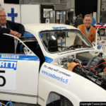 Three champions. Juhani Markkanen and Simo Lampinen and the championship car of 1975 - A Saab 96 rally, AEU-502.