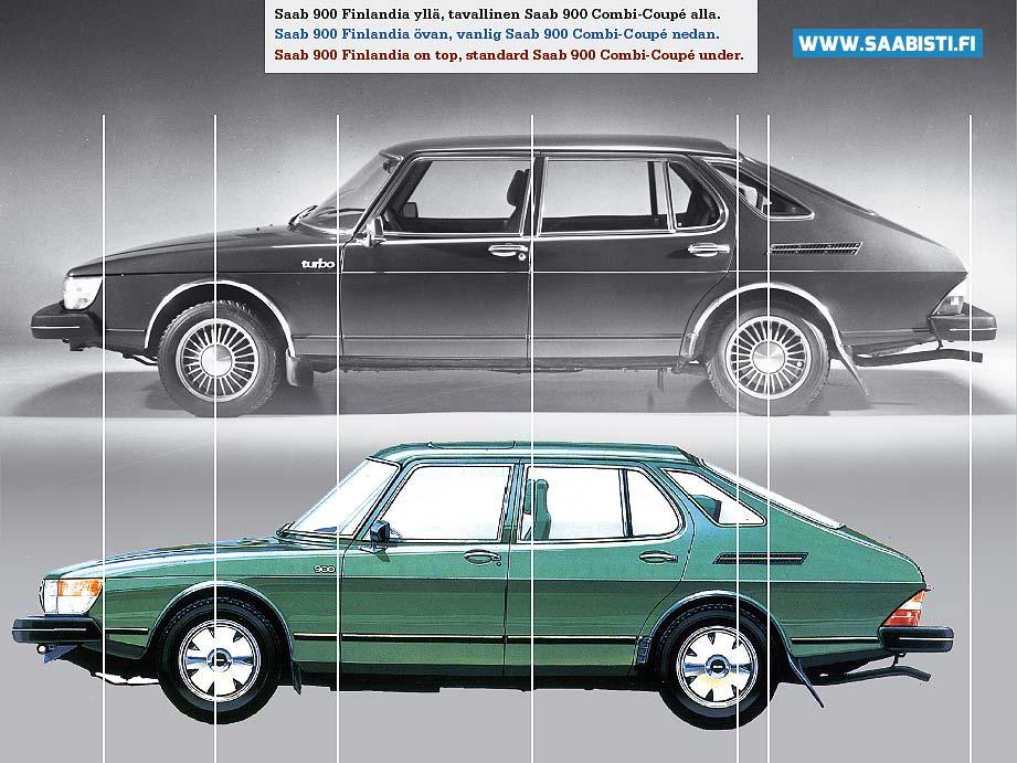 Comparison shot: Saab 900 Finlandia on top, standard Saab 900 Combi-Coupé under.