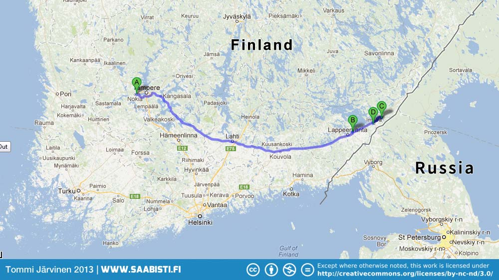 The route: Nokia > Lappeenranta (Tikkis) > Imatra (meeting and car museum)