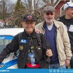 From left: Rally-maestro Simo Lampinen with his co-driver Jyrki Ahava. At back Tomi Tikanmäki who owns the ex-works blue'n white in the picture.