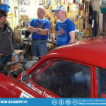 Gunnars garage. Checking out his Saab 96 V4 Rally which he actively races in the historic rally series.