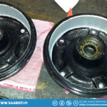 Machined Saab 95 wheel hubs. The right hand one already has the inner bearing in place.