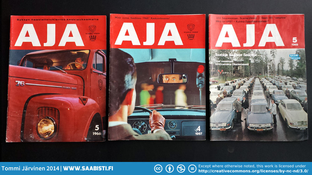 Scan-Auto imported and sold both Saabs and Scania trucks. In 1969 a Saab-Scania co-op was established to start manufacturing Saabs in the Uusikaupunki factory in Finland. Hence the Saab-Scania logo in one magazine.
