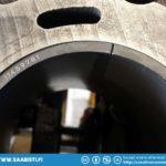 Checking the piston ring gap.
