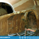 The Saab 93 trunk area has all the same rust spots as a Saab 96. The regular places need to be welded.